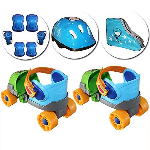 ZCRFY Rollerblades Kinder Rollschuhe Schlittschuhe Zweireihig 4-Rad-Gleitschuhe Einstellbare Größe Skating Anfänger Kids Für 2-8 Jahre Altes Baby-Geburtstagsgeschenk,Blue-Set4-(20-34) Code