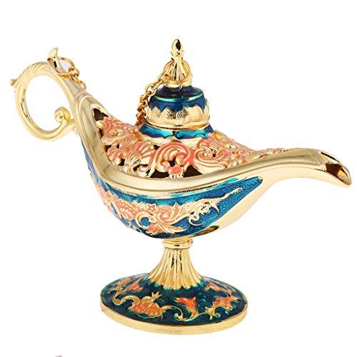 aus der Legende, Öllampe Sammlerstück, Gold - Rot & Blau (Gold Genie Lampe)