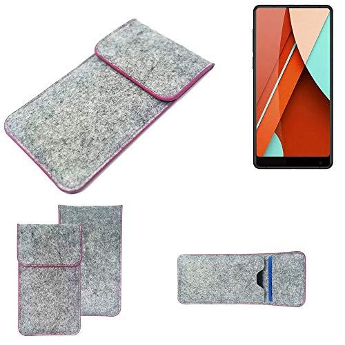 K-S-Trade® Filz Schutz Hülle Für Bluboo D5 Pro Schutzhülle Filztasche Pouch Tasche Case Sleeve Handyhülle Filzhülle Hellgrau Pinker Rand