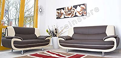 3+2 Seater Passero Brown and Cream Faux Leather Sofa Suite Settee Couch