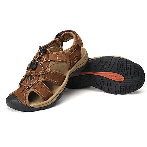 Zhuhaitf Fashion Mens Synthetic Leather Soft Shoes Athletic & Outdoor Walking Sandals Closed-Toe Shoes Light Brown