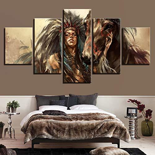 Drucke auf Leinwand Drucke Art Picture Poster Ohne Rahmen Home Meeting Room Multi-Dekorative Malerei Indianer Inkjet Wandbild 40X60Cmx2 40X80Cmx2 40X100Cmx1 - Volle Multi-room