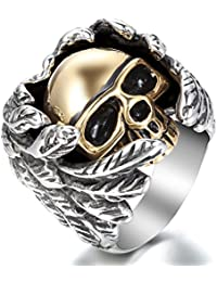 Los hombres de motociclista JewelryWe es grande acero inoxidable pesado anillo de bodas anillo del cráneo