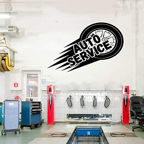 haotong11 Auto Service Wall Decalcomania del Vinile Pneumatici Riparazione Lavaggio Auto Auto Window Sticker Handmad Flying Tries Murals Autoadesivo 65 * 42cm