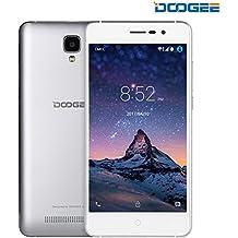 Móviles y Smartphones Libres, DOOGEE X10 Teléfono Móvil Libre y sin Bloqueo de SIM Baratos - 5 Pulgadas con Pantalla HD - Procesador QuadCore MT6570 - 8GB ROM - 2.0MP + Cámara de 5.0MPX - Dual SIM 3G, Bateria con 3360mAh, Bluetooth 4.0 - Plata
