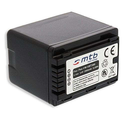 Ersatz-Akku VW-VBT380 für Panasonic HC-V500, V510, V520, W858, WX979. s. Liste! [3.6V - 3560mAh - mit Infochip, Restlaufanzeige unterstützt] V500-camcorder-batterie