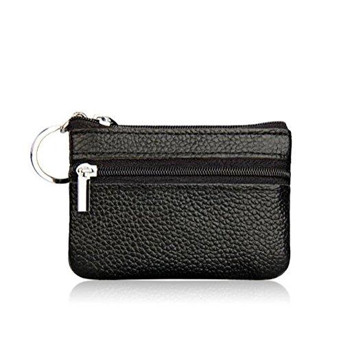 DcSpring Porte-Monnaie Petit en Cuir Véritable Mini Portefeuille Zippé avec Porte-Clés pour Femme Homme (Noir)