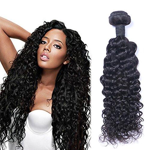 Puddinghair 100% Bresilien Virgin Extensions de cheveux boucles vague profonde Noir Naturel 3 Bundles (24\\