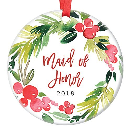 qidushop Maid of Honor Gifts, Christmas Ornament for Best Friend 2018, Will You Be My Maid of Honor? Proposal Wedding Party Favor Ceramic Keepsake Present Flat Circle Porcelain (First Birthday Party Favor Ideen)