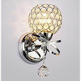 Wall Lamp, Annstory Modern Style Crystal Pendant Wall Lamp Bedroom Corridor Living Room Wall Lamp Holder Lamp Holder E27Bulbs Not Included (Silver) [Energy Efficiency Class A]
