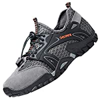 LOUECHY Men's Ponrea Mesh Hiking Shoes Breathable Water Shoes Trekking Sandals Outdoor Sneakers 8303-44 Grey