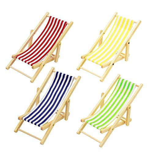 Hemore Miniatur-Puppenhaus Faltbare hölzerne Strandstuhl Chaise Longue Spielzeug mit Streifen rot/blau Haus Outdoor-Möbelzubehör -