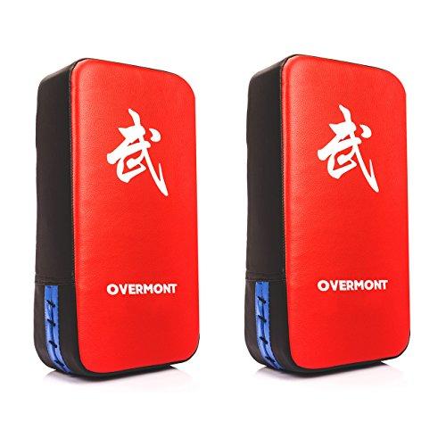 Overmont 2x PU Leder Schlagpolster Schlagkissen Kickschild Boxsack für Kickboxen Thaiboxen Karate UFC MMA - Verarbeitetes Leder