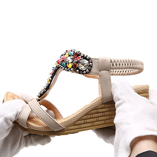 ZOEREA Damen Sandalen Keilabsatz Böhmen Bling Sommerschuhe Frauen Strasssteine Strand Hausschuhe Beige