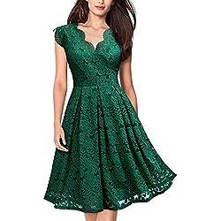Cóctel Corta Vestido para Mujer Verde Large