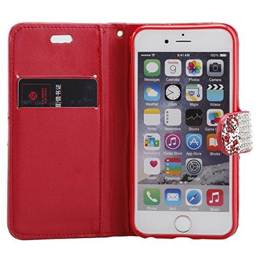 """Cover pour Apple iPhone 7 4.7"""", CLTPY Mignon Paillette Flash Diamond Motif Style Design avec Magnetique et Fente de Carte Full Body Wrap Back Cover Case Couvrir pour iPhone 7 + 1x Stylet - Argenté 3 rouge 3"""