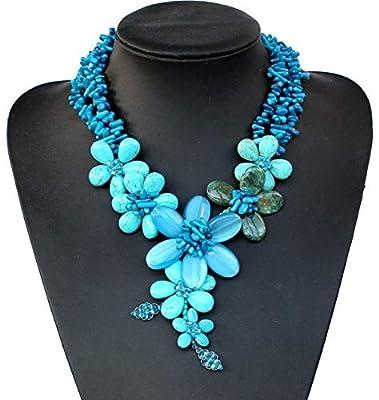 Bleu turquoise en cristal de corail collier perles collier chunky, cadeaux de mariage, cadeaux de demoiselle d'honneur de la mère
