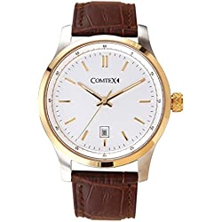 Comtex Classic Mens Quartz Analogue Wrist Watches with Gold Tone Case and Leather Strap