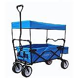 FUXTEC Bollerwagen BW-100 Türkis Blau mit Bremse, Breitreifen, Dach, Hecktasche
