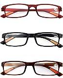 Schoenleben 3 Stück Damen Herren Lesebrillen Augenoptik Brille Lesehilfe Sehhilfe Sehr leicht (3 Farben, 1.5)