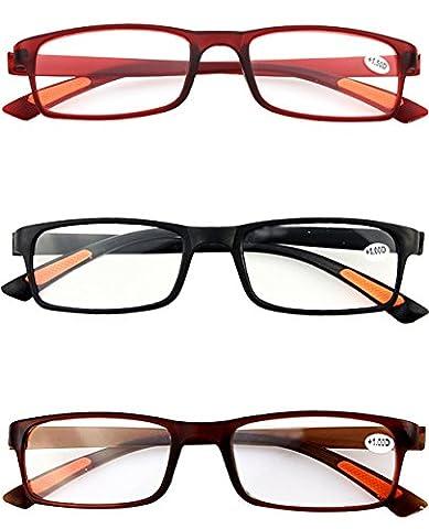 Schoenleben 3 Stück Damen Herren Lesebrillen Augenoptik Brille Lesehilfe Sehhilfe Sehr leicht (3 Farben,