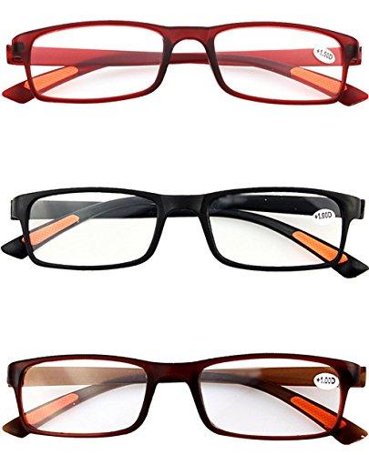 VEVESMUNDO® 3 Stück Damen Herren Lesebrillen Augenoptik Brille Lesehilfe Sehhilfe Sehr leicht (3 Farben(Schwarz+Rot+Braun), 2.0)