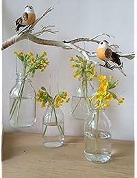 Conjunto de cuatro botellas de cristal colgante de la vendimia pequeña mini Bud florero decoración de la boda