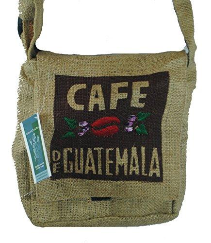 Fair Trade guatemaltekischen hessischen Jute Kaffee Schultertasche N37s Natural - Cafe Guatemala - Brown