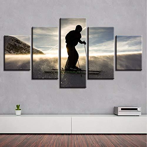 Wulian malerei leinwand paintingwall kunst hd drucke dekor moderne wohnzimmer 5 stücke skateboard sonnenuntergang landschaft leinwand bilder poster modulare gemälde rahmen-40x60x2 40x80x2 40x100x1