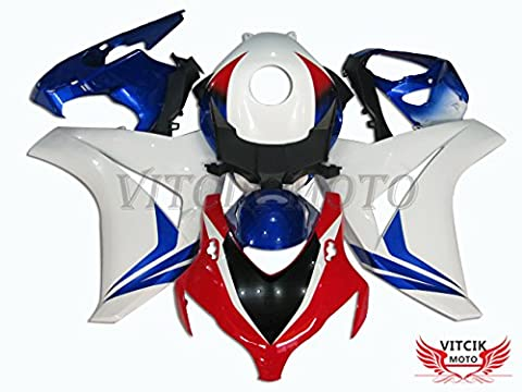 VITCIK (Fairing Kits Fit for Honda CBR1000RR 2008 2009 2010 2011 CBR1000 RR 08 09 10 11) Plastic ABS Injection Mold Complete Motorcycle Body Aftermarket Bodywork Frame(White & Blue)