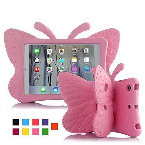 Leebay Non-toxic Light EVA 3D Butterfly Shockproof iPad mini 4 Case Cover with Stand for Kids (Pink)