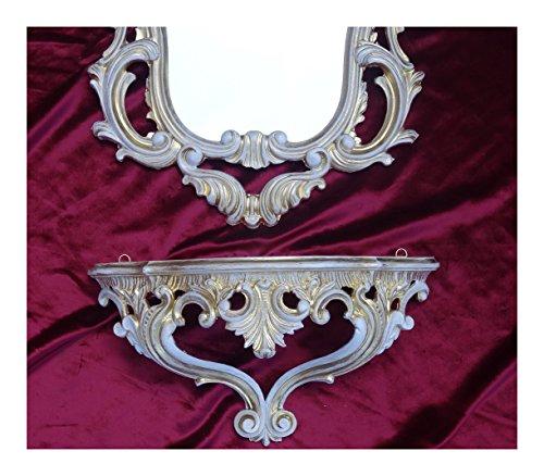 Set di 2 pezzi in oro bianco dual-color composto da specchio da parete + consolle da parete ovale barocco anticato 50 x 76 cm mobili da ingresso mobili console mensola specchio + mensola da parete