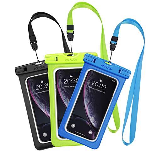 Mpow 3 Stück Wasserdichte Hülle Beutel Tasche, Handyhülle Schutzhülle für iPhoneX/ 8 Plus/ 8/6/6s/6sPlus/SE/5s/5/5c, Galaxy S8