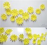 HENGSONG 3D Blumen Wand Aufkleber 12er Set Dekoration Wandtattoo Wanddeko für Wohnung, Raumdekoration (Gelb)