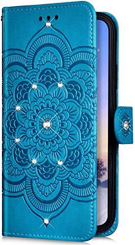 Uposao Kompatibel mit Samsung Galaxy A10S Handyhülle Mandala Blumen Muster Diamant Bling Glitzer Strass Schutzhülle Flip Wallet Bookstyle Klapphülle Leder Hülle Magnet Kartenfächer,Blau