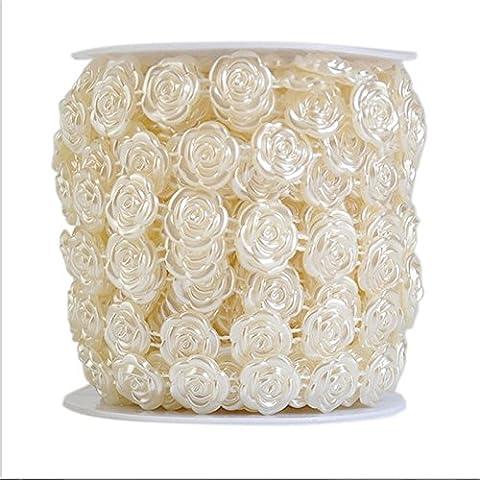 MARGUERAS 10M guirlande perle acrylique collier chaîne perles fleurs Wedding Party Decoration (style 1, beige)
