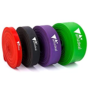 Fitnessbänder Widerstandsbänder, 4er Set von Amzdeal,Natürlichem Latex Resistance Band für Yoga,Pilate, Klimmzüge, Krafttraining, Aufwärmübungen, Kniebeugen und anderes Fitnesstraining