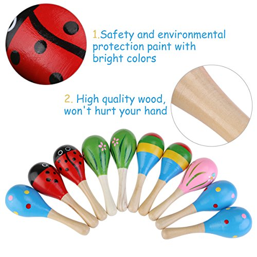 Image of NUOLUX 10pcs Funny Kids Wooden Maracas Rattle Shakers Musical Toys Random Color