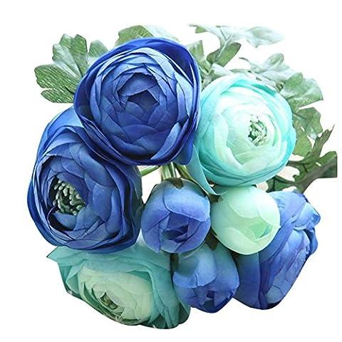 Zycshang artificielles en soie Faux Fleurs roses Floral Bouquet de mariage de mariage Hortensia Décor Bleu