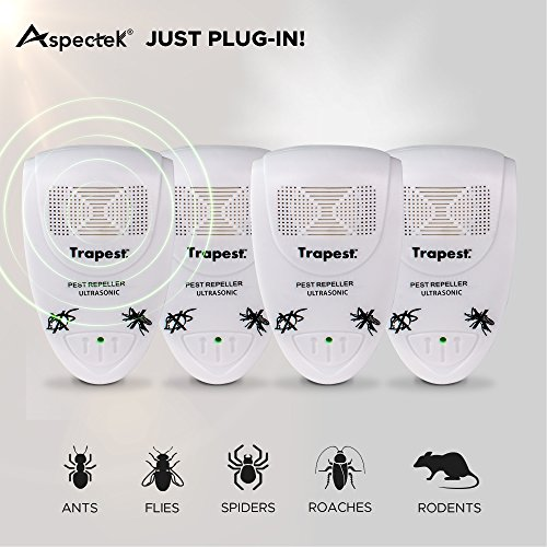 Ultrasonic Pest Repeller- Electronic Pest Control Plug-in Pest Repeller Insect Repellent for Rodents, Mice, Cockroach, Flies, Roaches, Ants, Spiders, Fleas - UK 3 Pin (4Pack) UK Plug