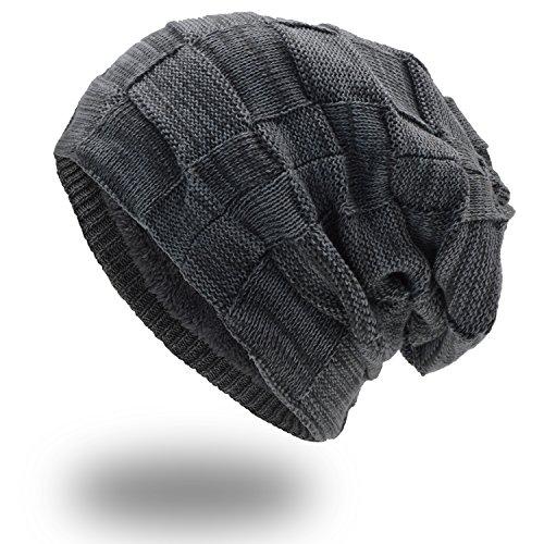 UPhitnis Warme Beanie Herren Damen - Mütze Long Slouch - Wintermütze mit Kariert Strickmuster Sehr Weichem Fleecefutter Soft Knit Schal