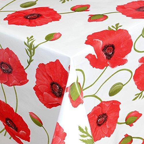 Wachstuch Tischdecke Gartentischdecke mit Fleecerücken Gartentischdecke, Pflegeleicht Schmutzabweisend Abwaschbar Mohnblume Rot Weiss 50x 140 cm - Größe wählbar