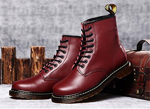 TMKOO Autunno e inverno nuova coppia di stivali casual tendenza più velluto Martin stivali in tubo di pelle bovina stivali paio modelli Red+wool