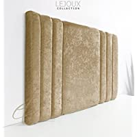 Lejoux™ Collection Panama Luxury Designer Headboard Bed Head in Crushed Velvet in Single Double King (Champagne, 4ft6 (Double) 24 Inches High)