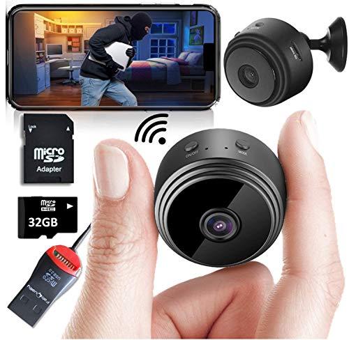 Mini Spy Camera Wireless Hidden Home WiFi telecamere di sicurezza WiFi con App 1080P, Inc 32 GB SD Card + Plus More. Il moto di visione notturna ha attivato la piccola camma della tata dell'interno