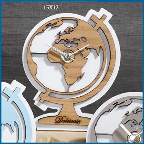 Albalù bomboniere orologio tema viaggio mappamondo color legno