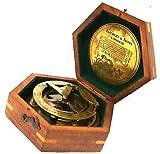 Gilbert Messing-Sonnenuhr und Kompass mit Palisanderholzbox