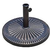 Outsunny Base per Ombrellone da Giardino Diametro 3,8-4,8cm Motivo Floreale con Manopola Peso 15 kg, Resina, 49x32cm Bronzo 49x32cm