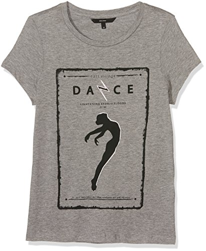 VERO MODA Damen Vmdancestudio T-Shirt D2-7, Grau (Light Grey Melange Print:Dancing Girl in Black), 40 (Herstellergröße: L) (Dancing Girl T-shirt)