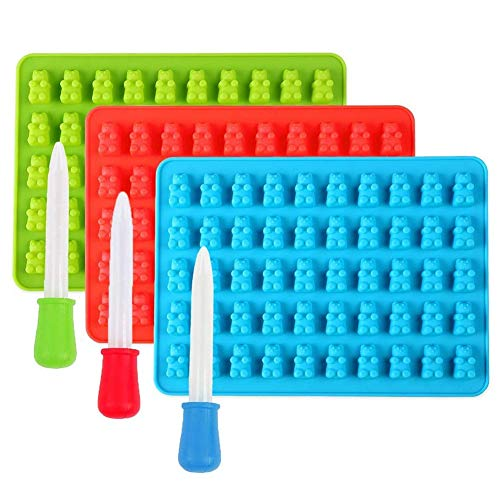 DUBENS 3 Stück Süßigkeit Formen mit 3 Dropper, DIY Silikonform 50 Mini Gummibärchen bär Form,...
